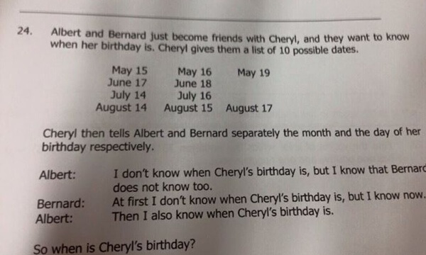 Cheryl Bernard and Albert birthday question