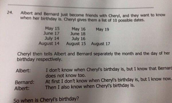 Cheryl Bernard and Albert birthday question